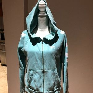 Pink aqua blue distressed full zip hoodie
